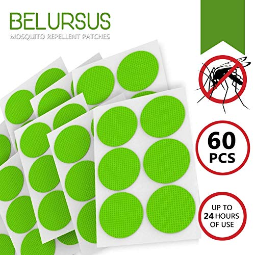 Belursus Mosquito Repellent Patch Green/3cm Resealable 60 Units/Premium Japan Natural Essential Plant oils/100% Natural Mosquito Repellent/24-Hour Protection/Simply Apply to Skin and Clothes 24 hour ()