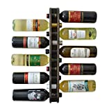 MyFancyCraft Handmade Wood Wine Rack Natural Pine Decor 10 Bottle Double Holder Organizer Wall Mounted