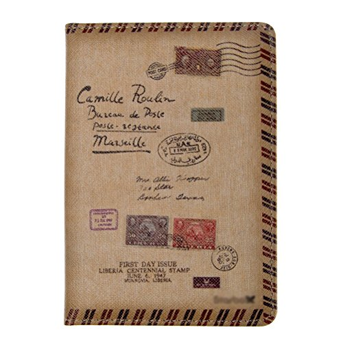 MEKU PU Leather Passport Cover Holder Passport Wallet Vintage Travel Wallet Case, Envelope Stamps Father Day Gifts