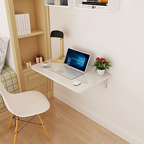 Foldable Wall Mounted Laptop Table Fold Down Dining Table for Small Space White Wood-based Panel Home Office Computer Desk (Size : 50x30cm) by Folding Table