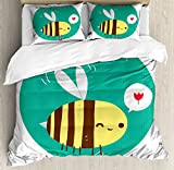Queen Bee Queen Size Duvet Cover Set by Ambesonne, Winking Bumblebee Cartoon Doodle with Bee Happy Quote Circle Abstract Background, Decorative 3 Piece Bedding Set with 2 Pillow Shams, Multicolor