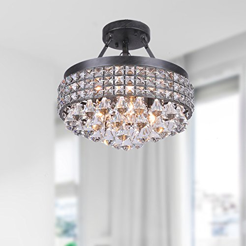 Antonia 4-light Crystal Semi-flush Mount Chandelier with Antique Bronze Iron (Semi Flush Crystal Lighting)
