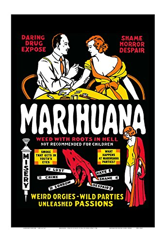 Vintage Film Posters (Marihuana - Weed with Roots in Hell - Weird Orgies - Wild Parties - Unleashed Passions - Vintage Film Movie Poster by Dwain Esper c.1936 - Master Art Print - 13in x 19in)