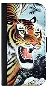 Fierce Tiger Painting - Samsung Galaxy S5 i9600-Wallet Case with Flip Cover and Magnetic Clasp-Leather-Look
