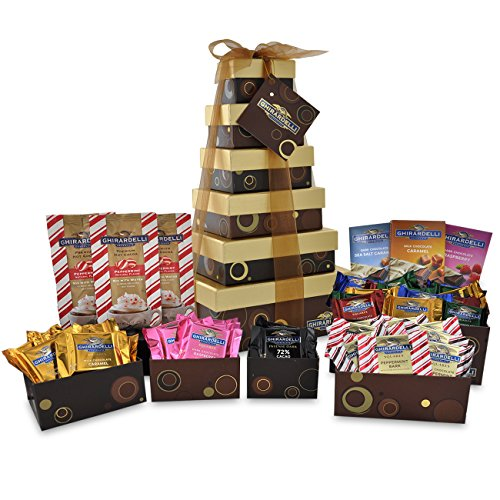 Chocolate Usa Gift Tower - Ghirardelli 6 Tier Tower Holiday Chocolate Gift Set, Brown, 35.30 Ounce