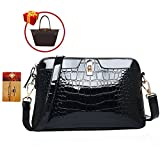 ZLMBAGUS Lady Glossy Faux Patent Leather Tote Handbag Alligator Embossing Print Satchel Purse Chain Shoulder Crossbody Bag Black