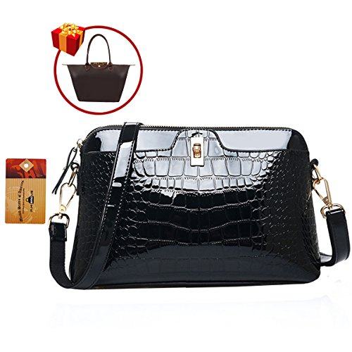 ZLMBAGUS Lady Glossy Faux Patent Leather Tote Handbag Alligator Embossing Print Satchel Purse Chain Shoulder Crossbody Bag Black by ZLMBAGUS