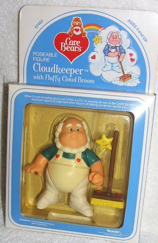 1984 Vintage Care Bears 4 Poseable Cloudkeeper Figure with Fluffy Cloud Broom by Care (Vintage Kenner Care Bears)