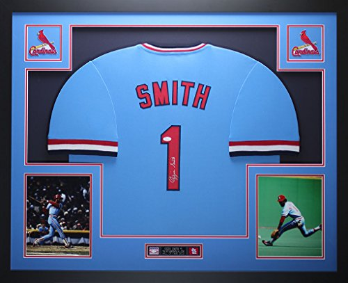 hed Blue Cardinals Jersey - Beautifully Matted and Framed - Hand Signed By Ozzie Smith and Certified Authentic by JSA COA - Includes Certificate of Authenticity (Smith Hand Signed)