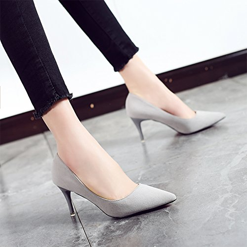 2018 Pointed Wild Heels Shoes Wedding Women'S High 7cm With Fine Gray Single Shoes High Female New Shoes heels Jqdyl 7xgEBq1