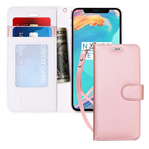 iPhone X Case, iPhone X Wallet Case, FYY [RFID Blocking wallet Case] 100% Handmade Flip Folio Case [Kickstand Feature] With ID&Credit Card Protector for Apple iPhone X Edition(2017) Rose Gold