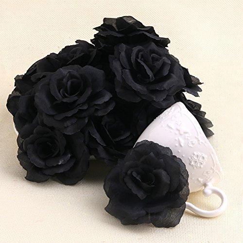 Arich 20pcs Roses Artificial Silk Flower Heads DIY Small Bud Party Wedding Home Decor (Black)]()