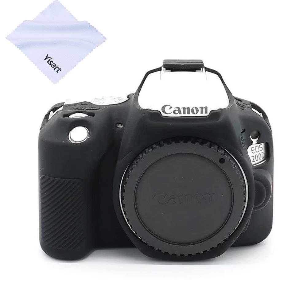 Yisau Canon EOS 200D 200DII カメラハウジングケース プロフェッショナル シリコンゴム カメラケースカバー 取り外し可能 保護用 Canon EOS 200D 200DIIデジタルカメラ用 マイクロファイバークロス付き ブラック B07RHPKT66