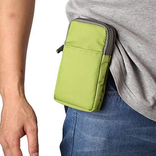 Shoulder Messenger Bag Green, Pouch Waist Bag, 6.5 inch Ladies Men Zipper Cross Body Waist Bag Pockets Belt Clip Wallet Purse Holster Pouch Pack Pocket Bags with Locking Carabiner Hook