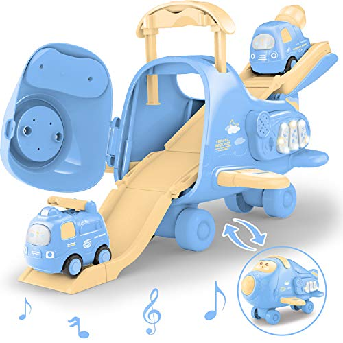 FunLittleToy Electronic Musical Airplane Toys for Toddlers with Track and A Mini car