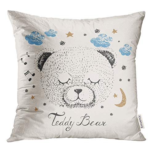 Semtomn Decorative Throw Pillow Cover Square 16x16 Inches Pillowcase Lullaby Sleeping Bear Kid Baby Graphic Celebration Sketch Sky Pillow Case Home Decor for Bedroom Couch Sofa