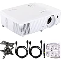 Optoma Ultra Home Cinema Projector w/ DarbeeVision Enhanced Technology + Projector Mount Bundle Includes, Low Profile Projector Mount, 2x HDMI Cable, SurgePro 6-Outlet Surge Adapter & Cleaning Pen