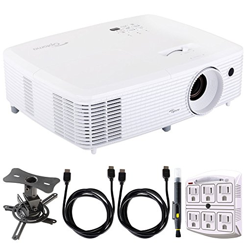 Optoma Ultra Home Cinema Projector w/ DarbeeVision Enhanced Technology + Projector Mount Bundle Includes, Low Profile Projector Mount, 2x HDMI Cable, SurgePro 6-Outlet Surge Adapter & Cleaning Pen by Optoma