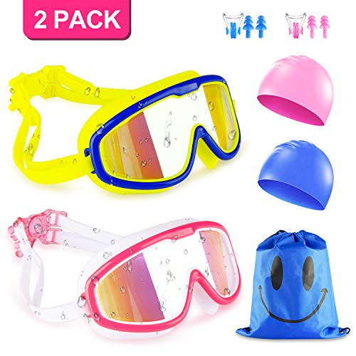 Kids Swim Goggles, 2 Packs Swimming Goggles for Boys Girls, No Leaking Anti Fog UV Protection Crystal Clear Wide Vision Goggles with Swim Caps + Nose Clips + Ear Plugs + Storage Bag