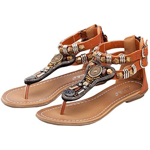 ... Oasap Damen Graceful Summer Buckled Thong Sandals Khaki ...