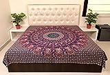 Sarjana Handicrafts Indian King Size Cotton Flat Bed Sheet Floral Mandala Elephants Bedspread Bedding (Pink)