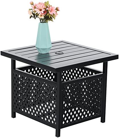 PHI VILLA Outdoor Patio Umbrella Side Table Base Stand with 1.57 Umbrella Hole for Garden,Pool Deck – Black