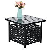 PHI VILLA Outdoor Patio Umbrella Side Table Base Stand with 1.57″ Umbrella Hole for Garden,Pool Deck – Black