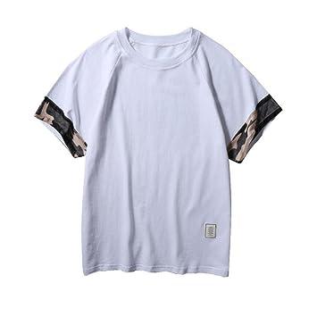 ❤VENMO Camisetas hombre originales,camisas hombre,deportivas hombre,polos hombre,hombres Slim Fit Camiseta de manga corta de Patchwork,Casual camiseta ...