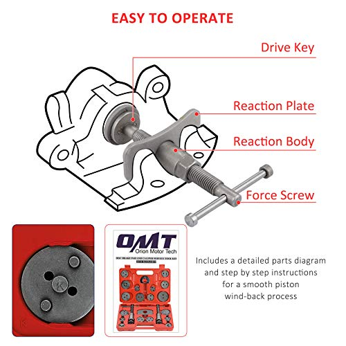Orion Motor Tech 24pcs Heavy Duty Disc Brake Piston Caliper Compressor Wind Back Rewind Tool Set for Brake Pad Replacement Reset with Storage Case, Fits Most American, European, Japanese Autos
