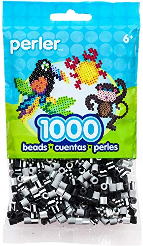 - Perler Beads Fuse Beads for Crafts, 1000pcs, Newsprint Striped Black, Grey, and White