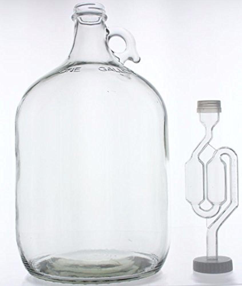 1 Gallon Glass Wine Fermenter-INCLUDES Twin Bubble Airlock Home Brew Ohio COMINHKPR105068