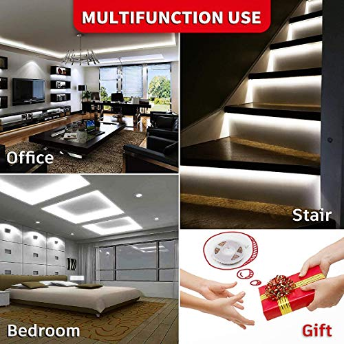 LED Strip Lights Dimmable Rope Lights 12V LED Light Strip White Under Cabinet Lighting Ultra Bright Vanity Lights 16.4ft LED Tape Light Non-Waterproof 6500K LED Ribbon Lights for Cabinet Mirror Office