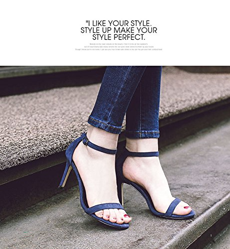 with blue high belt a buckle fine wild sandals Summer small black word fresh heels MOM with PW1qFwCnZ
