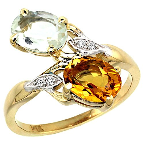 Oval Citrine Diamond Accent Ring - 10K Yellow Gold Green Amethyst & Citrine 2-stone Mother's Ring Oval 8x6mm Diamond Accents, 3/4 inch wide, size 6.5