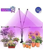 MiMiya Lampada per Piante, Lampada Piante Coltivazione 36W 72 LED Lampada Crescente con Timer Automatico 4H/8H/12H, 5 Luminosità LED Grow Light per Semina, Crescita, Fioritura e Fruttificazione