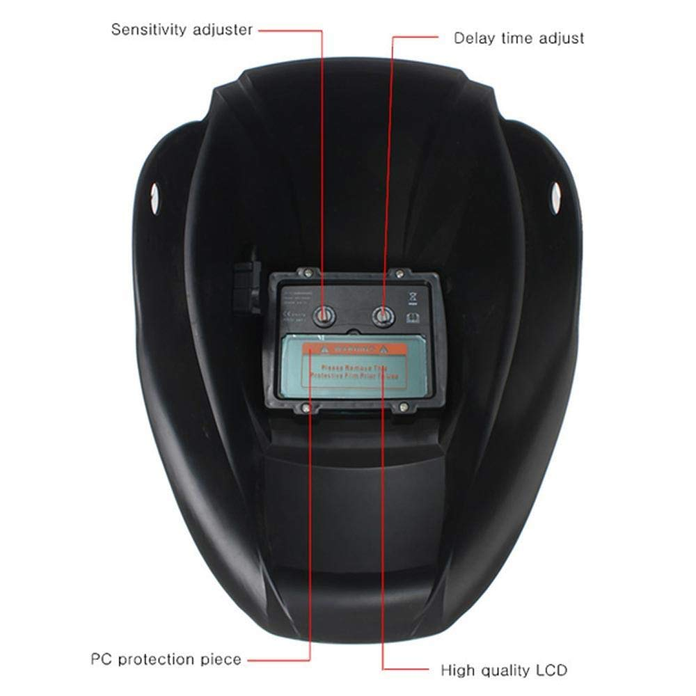 9-13 Protecci/ón UV IV DIN16 para corte por plasma de molienda Arc Tig Mig con rango de sombra ajustable DIN4 Nuzamas Casco de soldadura de oscurecimiento autom/ático con energ/ía solar