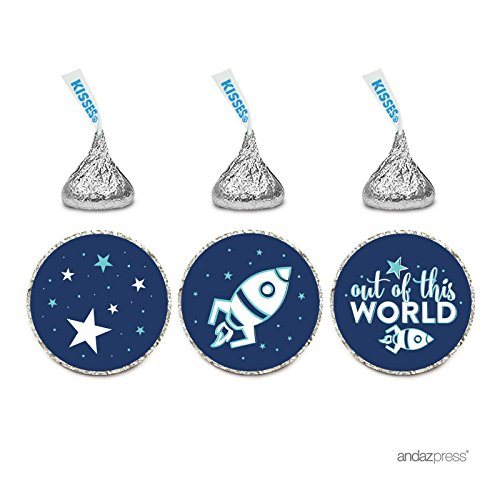 Andaz Press Birthday Chocolate Drop Labels Trio, Fits Hershey's Kisses Party Favors, Space Rocket Ship and Galaxy, 216-Pack, Stars Moon Out of This World Birthday