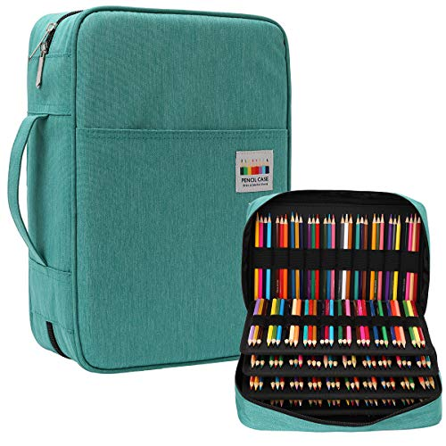 JAKAGO 304 Slots Pencil Case Large Capacity Gel Pen Case, Multi-Functional Organizer for Colored Pencils/Gel Pens/Markers/Makeup Brushes Stationery Pencil Pouch bag(Green)