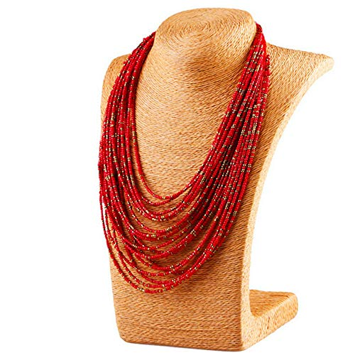 xingqiong Bohemian Multilayer Beaded Necklace Handmade Statement Long Chunky Rice Seed Beads Necklace for Women Girls Jewelry