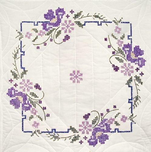 Design Block Quilt (Fairway 92403 Quilt Blocks, Pansies Design, White, 6 Blocks Per Set)
