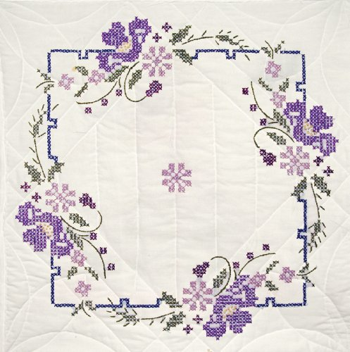 - Fairway 92403 Quilt Blocks, Pansies Design, White, 6 Blocks Per Set