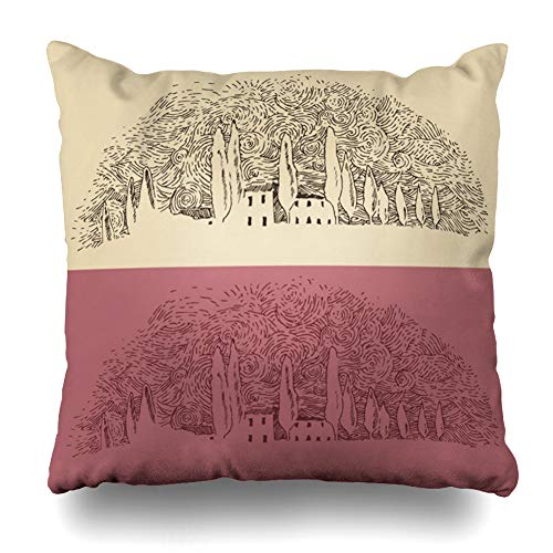 Ahawoso Throw Pillow Cover Drawing Italian French Province Van Gogh Wine Label Mount Vintage Engraved Sketch Parks Italy Black Zippered Pillowcase Square Size 20 x 20 Inches Home Decor Pillow Case
