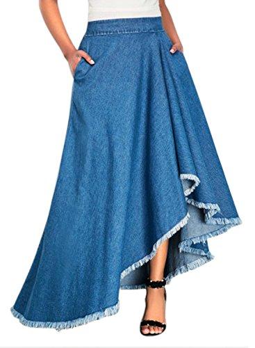 Annflat Women's Casaul High Waist Ruffle Hem A Line Long Denim Jean Skirt Large Blue