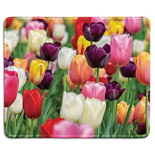 (dealzEpic - Art Mousepad - Natural Rubber Mouse Pad Printed with Tulips of Various Colors - Stitched Edges - 9.5x7.9 inches)