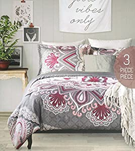 duvet cover set full queen size bed luxury 3 piece 100 cotton pink purple gray floral medallion pattern claire alex and zoe - Queen Size Duvet Cover