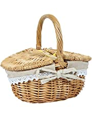 Alliteqwe Handmade Wicker Basket with Handle, Wicker Camping Picnic Basket with Double Lids, Shopping Storage Hamper Basket with Cloth Lining