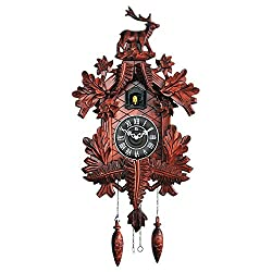 TransSino Treasures 31 Large Handcarved Wooden Cuckoo Clock with Bird Chiming the Hour