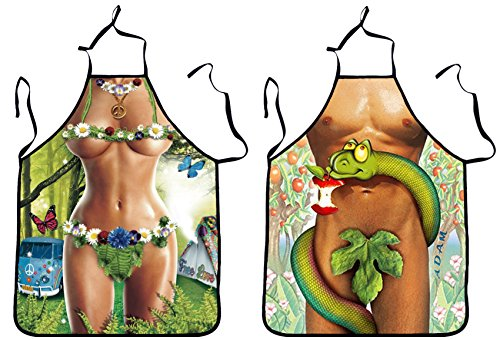 [Sexy Men Women Funny Creative Apron Novelty Kitchen Cooking Grilling Apron 2Pack (A)] (Vintage Pin Up Girl Costume Ideas)