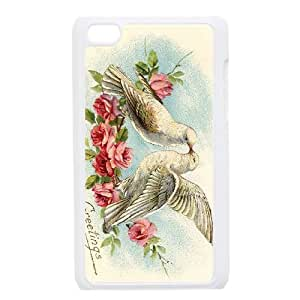 iPod Touch 4 Case White Roses Vintage Postcard DVX Hard Plastic Phone Case