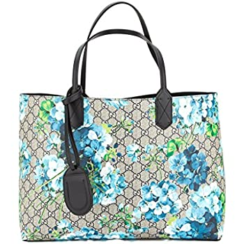 24369ca1f053ca Gucci Blossoms Blue Navy Reversible GG Blooms tote Leather Handbag Bag New